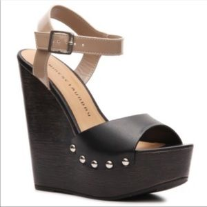 "Chinese Laundry black & nude ""Jinxy"" wedge sandal"
